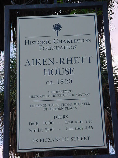 Aiken-Rhett House Charleston, SC