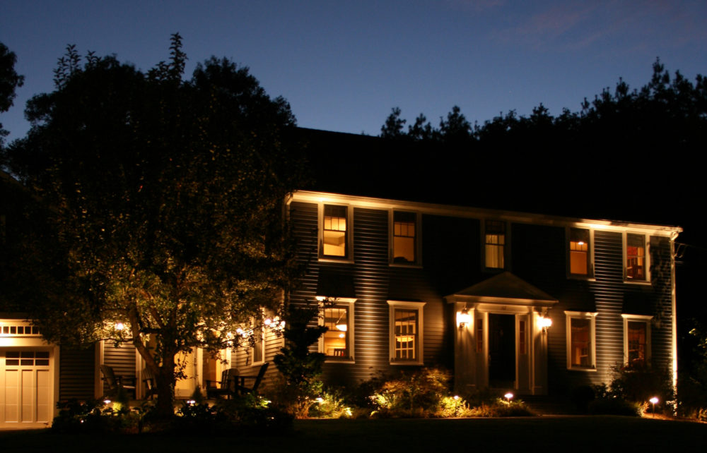 Outdoor landscape lighting added security for the home front of house save outdoor landscape lighting aloadofball Image collections