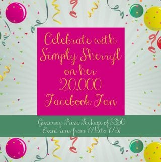 20,000 Facebook Fans on Simply Sherryl Giveaway