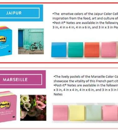 Post-it Brand World of Color collections