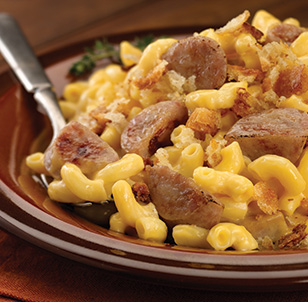 Sweet Apple Chicken Sausage with Homemade Macaroni and Cheese