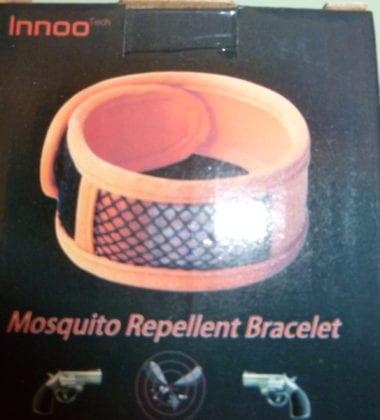 One night this week I had dinner outside on my deck. I decided it would be the perfect time to try out the Innoo Mosquito Repellent Bracelet that I received.