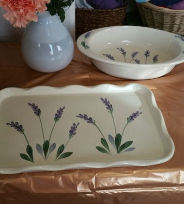Arousing Appetites Large Ceramic Deep Casserole Serving Dish with Decorative Hand Painted Lavender Design