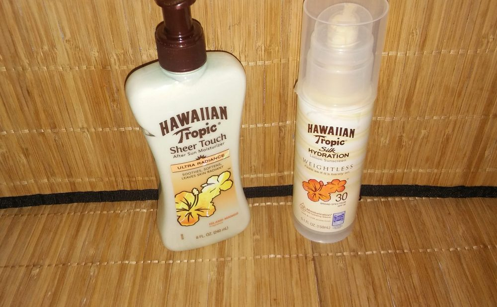 hawaiian tropic after sun and sunscreen