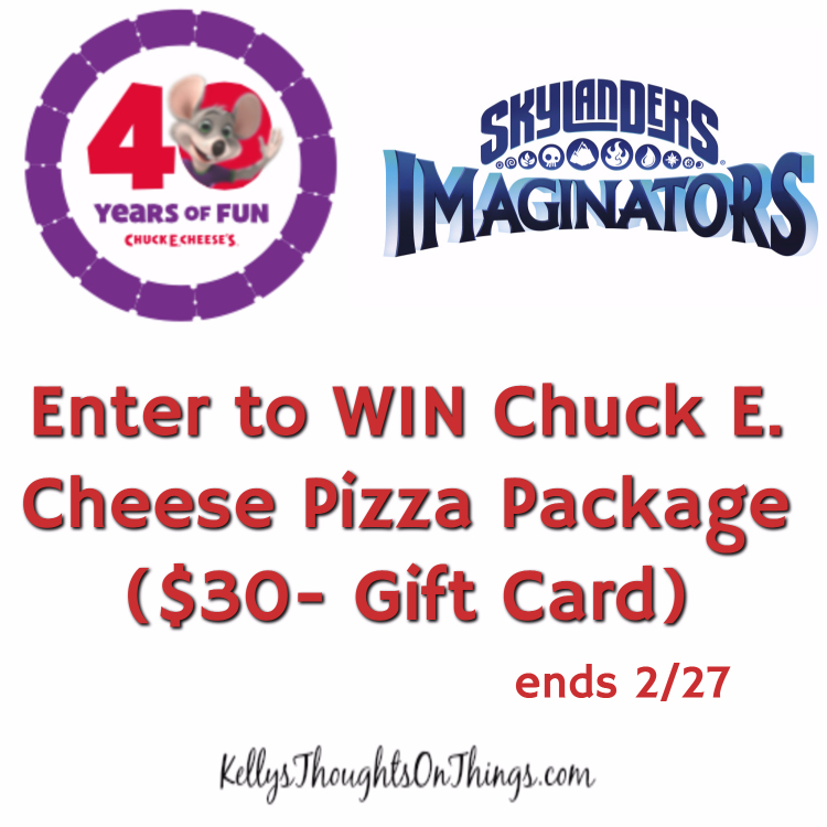 Enter to win Chuck E Cheese Pizza Package