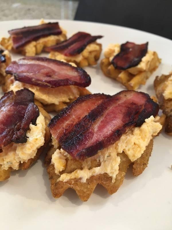 Best Snack Food for a Party: Waffle Potato Cheesy Bacon Bites