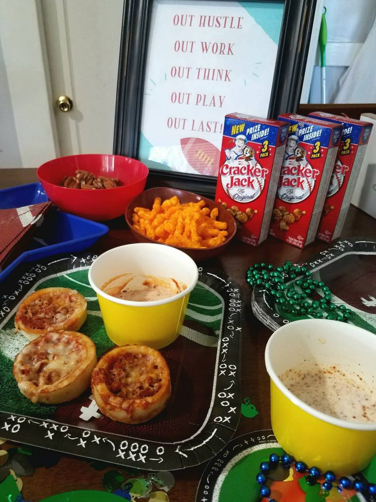 Getting all snacks ready for the Red Baron Pizza Party!