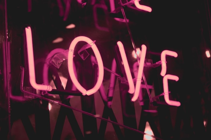 Sign lite up stating LOVE