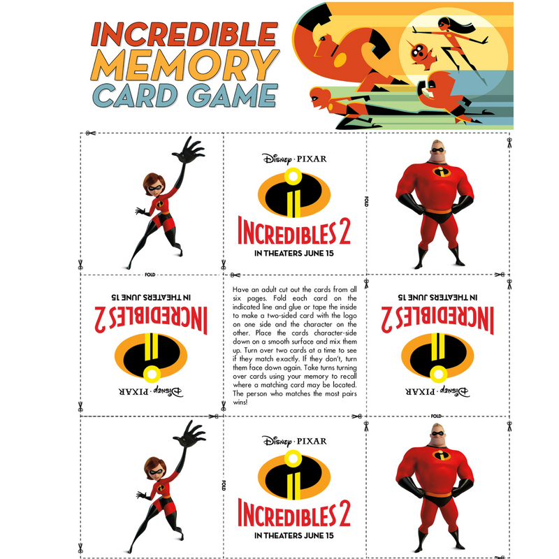 Memory Game INCREDIBLES 2 Is HERE! Clips and Printables For The Kids!