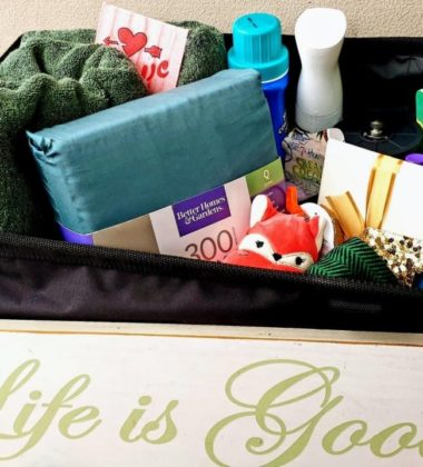 Leaving For College Care Package- items we put in the care package like sheets and towels.