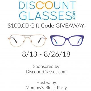 Win a $100.00 Gift Code to shop at DiscountGlasses.com.