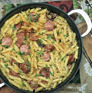 Pan filled with Cajun Alfredo made with Eckrich Smoked Sausage