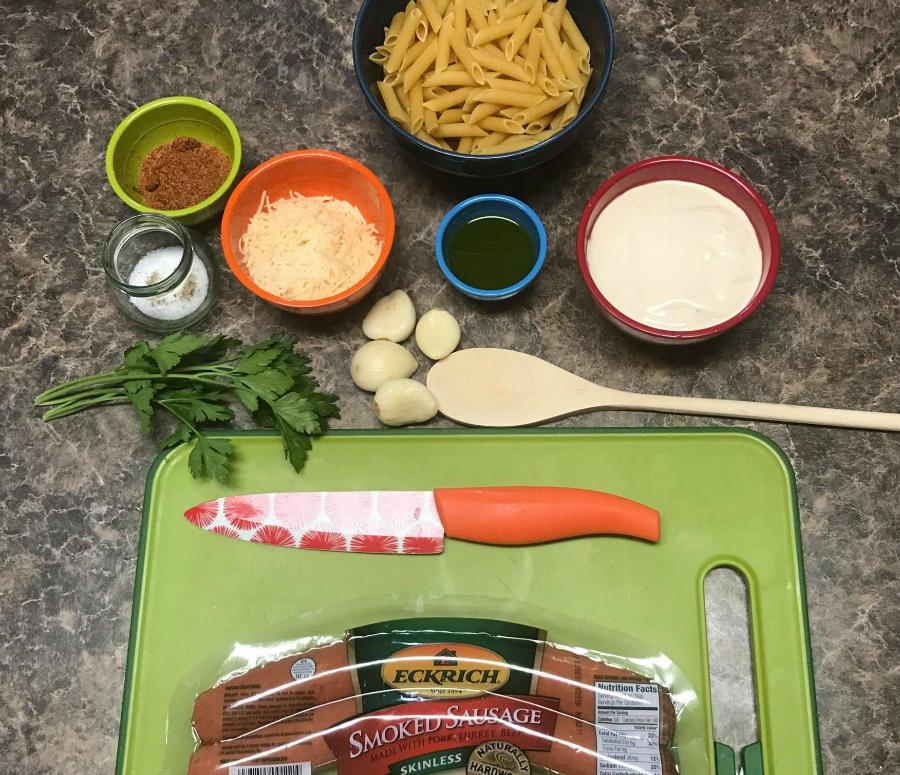 Ingredients to make the Cajun Alfredo