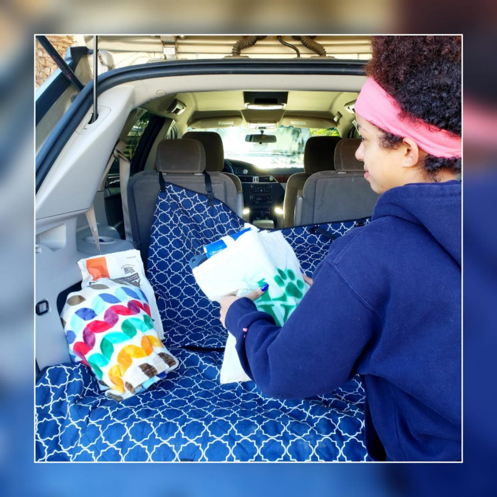 My daughter putting our Homeless Dog Care package in the back of car