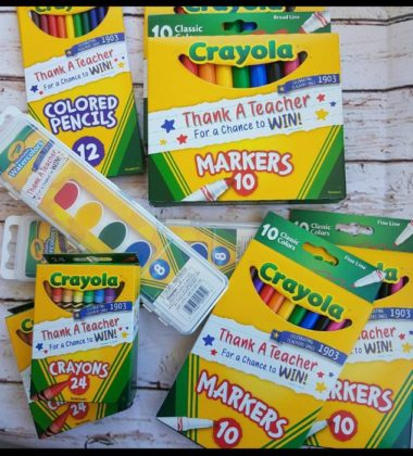 All kinds of crayola products- paint, crayons