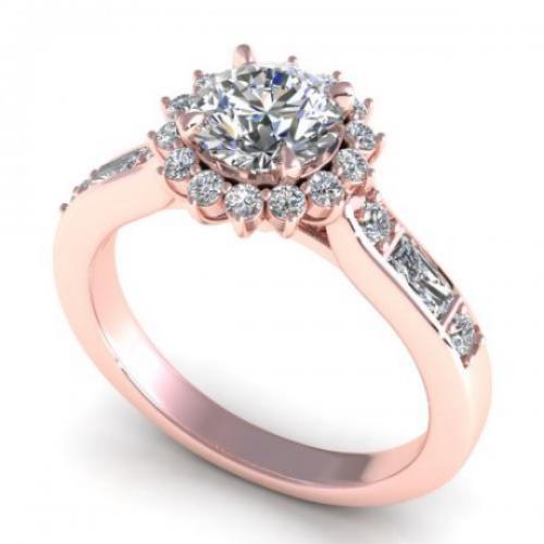 round cut diamonds engagement ring