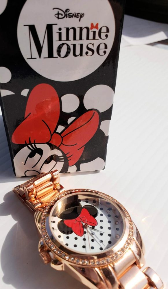 Rose Gold Minnie Mouse Watch with box in background