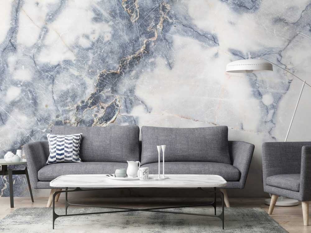 Wall mural with a grey and white marble design
