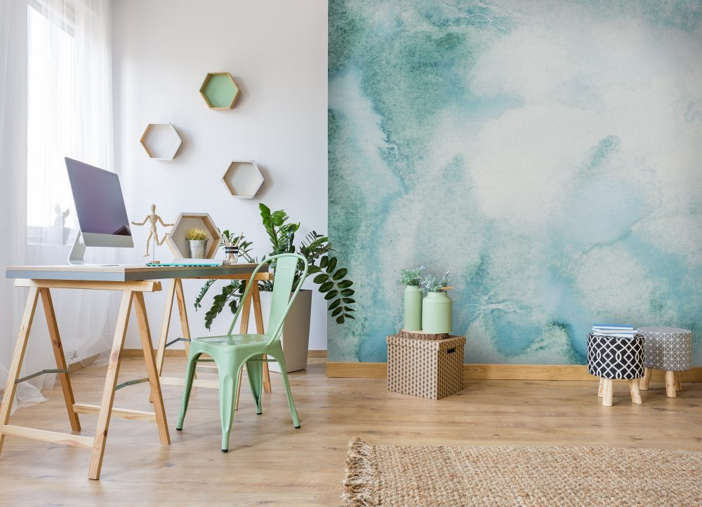Wall mural with teal and white marble