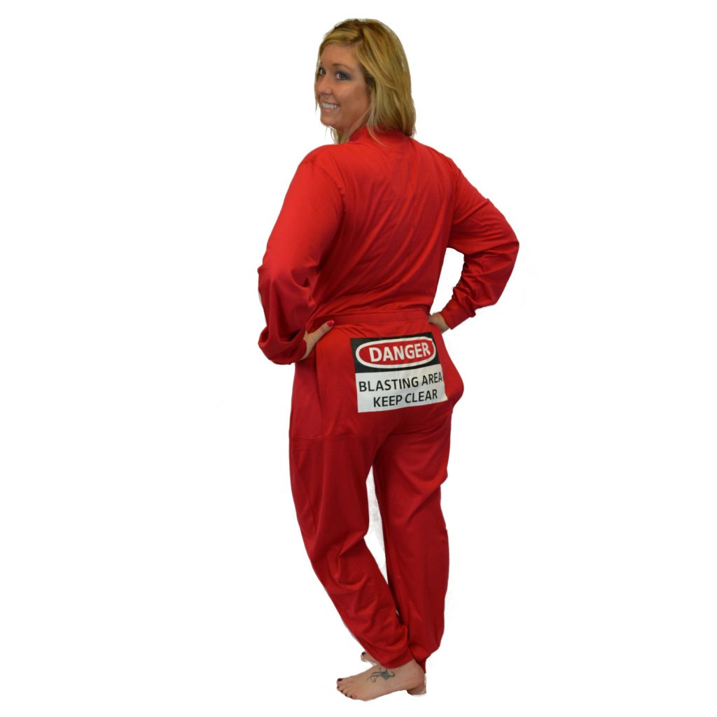 "Red Union Suit with Funny Butt Flap ""DANGER BLASTING AREA"" Men & Women Unisex"