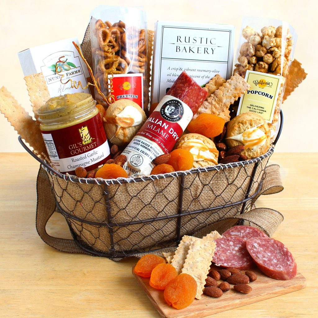 For your favorite foodie! This gourmet gift basket contains delicious and nutritious delicacies that are sure to make your mouth water. All of the ingredients are locally sourced in California.""