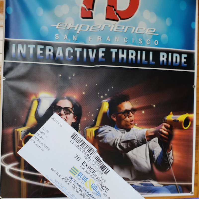 7D Adventure tickets inf ront of 7D Poster