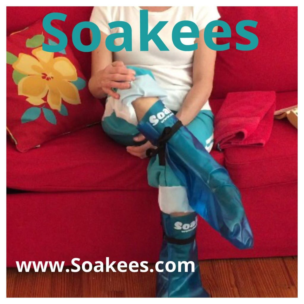 "Soakees ""Slip-On and Tie"" Foot Bath Boots are endlessly reusable - simple to use - needs only 2-3 CUPS of water to be effective, fit feet from size 13 down to size 4, are lightweight and portable enough to use anywhere anytime and anyplace and immediately give the user the trifecta of foot pain relief, stress relief and the ahhhhh relaxing indulgence of soft pampered sweet smelling beautified feet - all in only 20 minutes - without ever having to pick up or use a heavy messy tub of water on the floor ever again!"