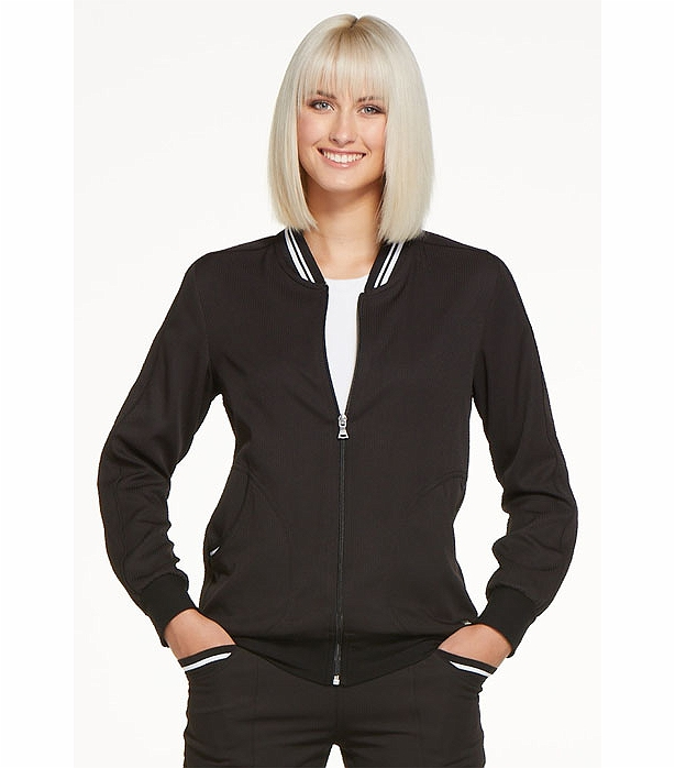fashion jackets, with its athleisure style, complete with sporty black & white lines around the neck. There are multiple pockets, as well as other practical features that you are sure to appreciate.