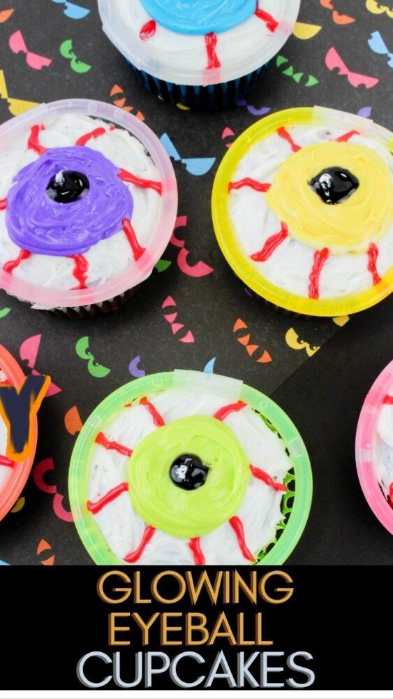 Glowing Eyeball Cupcakes on Table