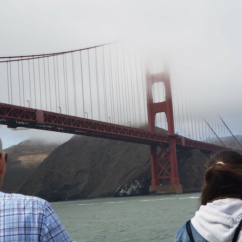 Golden State Bridge with clouds