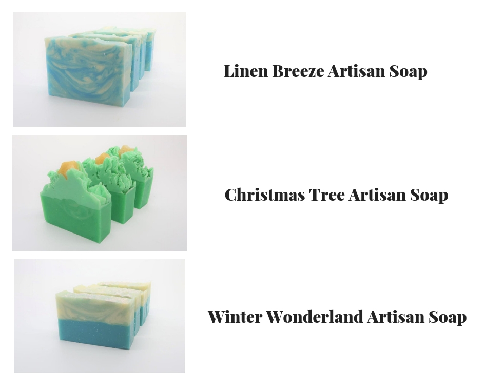 Holiday Giveaway: Handmade Artisan Soap Bubbly Soaps wants to give one of our readers a Holiday Gift- 3-Artisan Soap Combo of Winter Wonderland, Christmas Tree and Linen Breeze. Wintertime smells are so amazing.