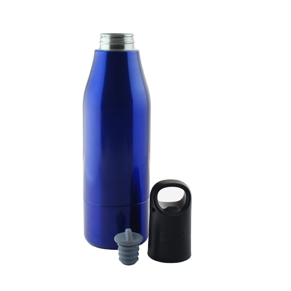 More than just a protective metal sheath, the Icy Bev Kooler's neoprene lining keeps bottles colder longer than any koozie while the silicone stopper keeps drinks carbonated