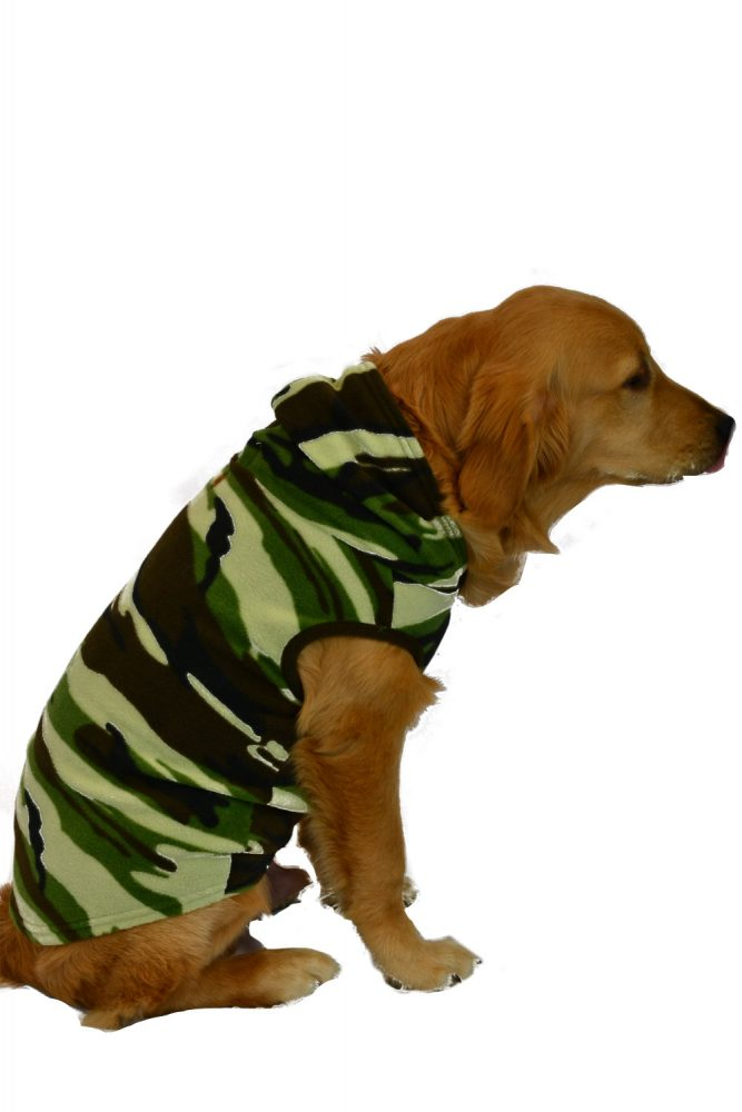 Camouflage Fleece Hoodie for Pets.  These fleece hoodie are the perfect comfort wear for your dogs, and cats too!   For ultimate comfort, our hoodies have large arm holes instead of sleeves which your pet will love you for.   Big Feet PJs hoodies are made from premium micro polar anti-pill fleece and are available in sizes small to extra large.