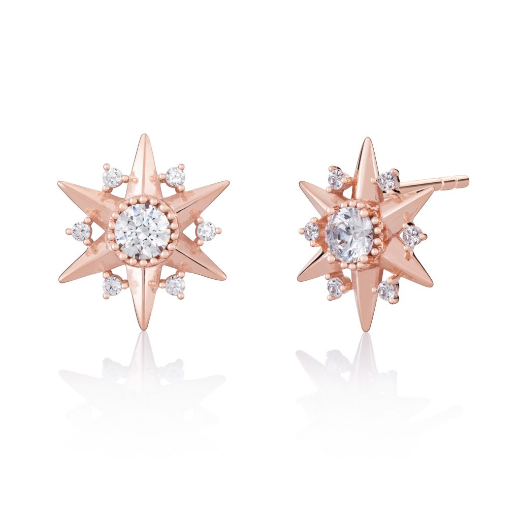 Chamilia Blush Delicate Heart Stud Earrings—These ball studs feature dainty open-work hearts.