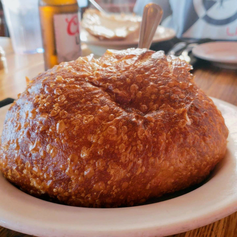 Sourdough bread bowl with clam chowder