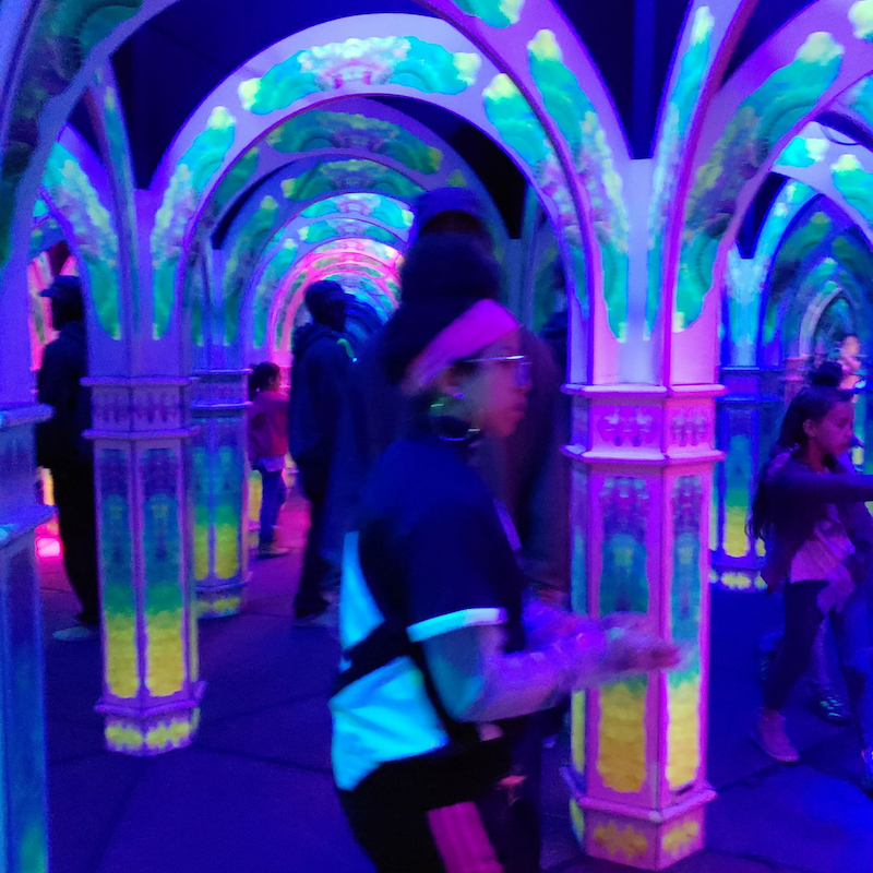 In the mirror maze, colorful and fun