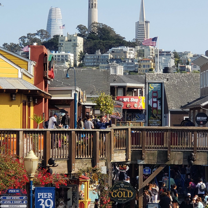 San Francisco hills with pier 39
