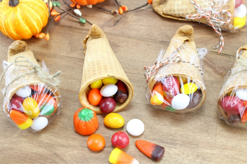 Cornucopia Treats on table with candy