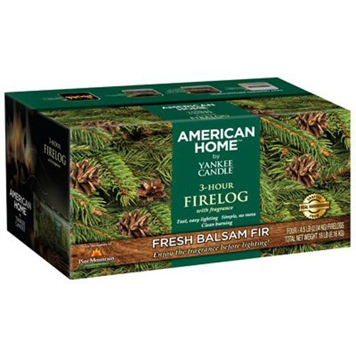 Pine Mountain American Home Yankee Candle 3- Hour Firelogs, 4 Count Balsam Fir Scented Logs