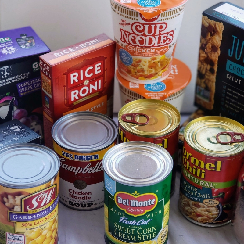 Cans of food, boxes of food