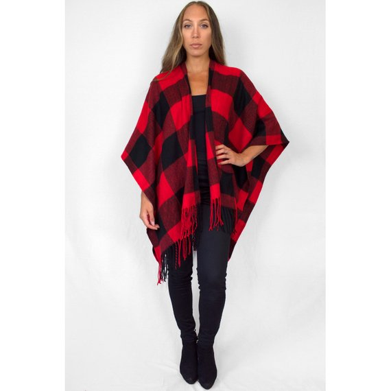 Knit Tartan Buffalo Plaid Poncho Red Black Flannel Checkered Fringe Oversized Wrap Sweater Blanket Warm Winter Holiday Women's Shawl