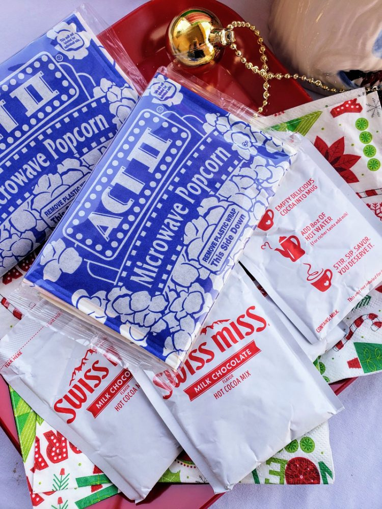 Popcorn and hot chocolate packets