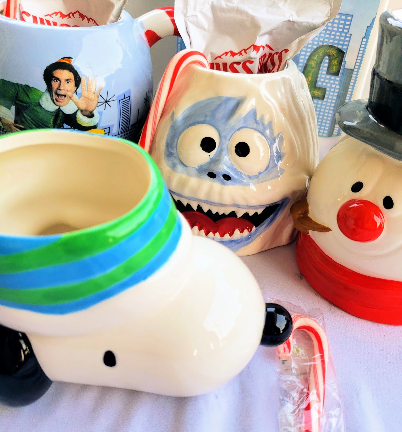 Snowman, Elf, and Snoopy Mugs