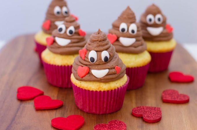Valentine Cupcakes Inspired by the Poop Emoji