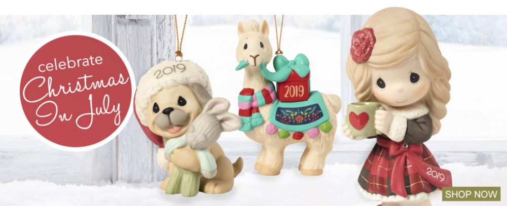 Right now, Precious Moments has an incredible Christmas in July sale going on. Which means its time to grab yourself a few Christmas figurines a little early. Select Christmas gifts for boys, girls, mom, dad and everyone else on your list from our wide assortment of figurines, photo frames, stuffed animals, ornaments and more! They have Christmas presents that celebrate the real reason for the season. There are few selections you may be interested in: I Llove You Llots - Brighten the holidays with this whimsical dated ornament. Give your 'lloved' ones a colorful reason to smile year after year! Have A Heart-Warming Christmas - Adorned with a sparkling red flower in her hair that matches the festive red bows on her shoes, their 2019 Dated figurine is bundled up in stylish holiday plaid and faux fur. Decorate your home, start or continue an annual gift-giving tradition with a sweet reminder of a truly wonderful year. Like all the gifts and home décor in our Cozy Moments collection, this is a beautiful Christmas gift idea for friends, family, coworkers, and collectors. And Tons More! Somewhere in this collection you are going to find something special for yourself or for someone else. In fact, you may find a few Christmas gifts early too. Its never too late to get some early gift grabbing out of the way. After all, nothing sounds better than Christmas in July.