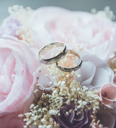 roses and wedding bands