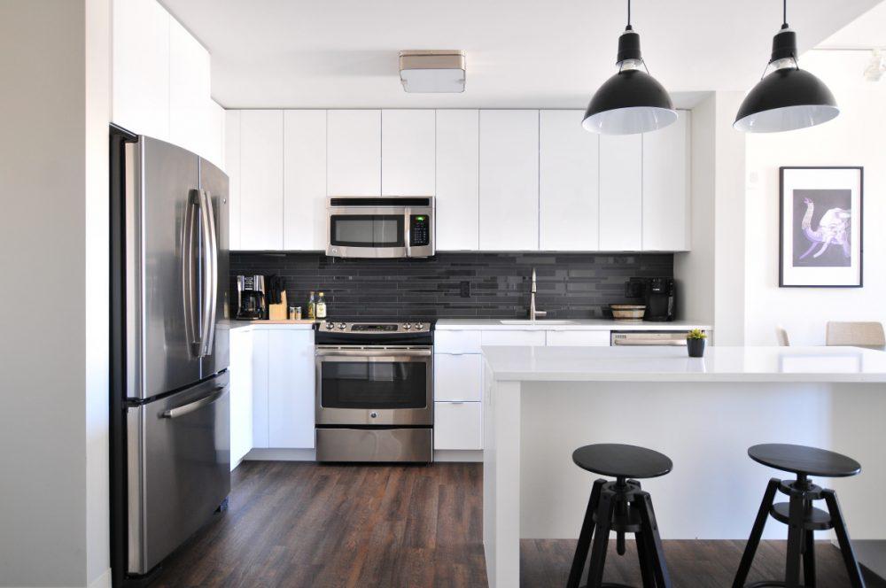 gray steel 3-door refrigerator near modular kitchen