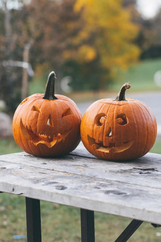 pumpkins on a wood table