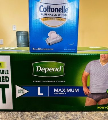 Depends and cottonelle on counter
