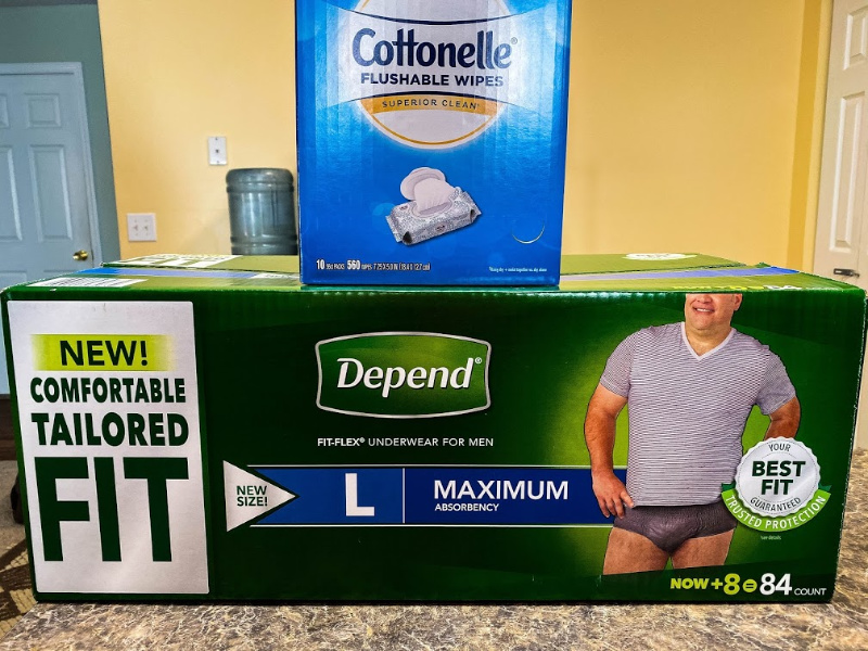 Depends and cottonelle on counter National Caregiver Month